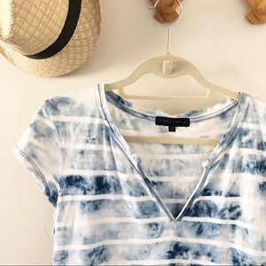 Sanctuary Blue White Tie Dye & Stripes Top // S